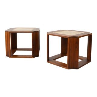 Mid-Century Solid Walnut Side Tables in the Style of John Keal for Brown Saltman - a Pair For Sale