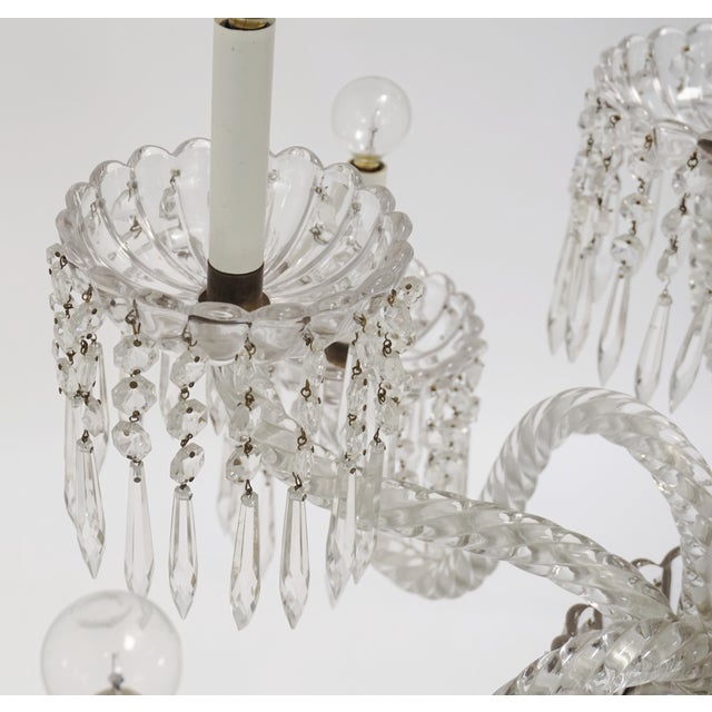 1930s Antique Baccarat Undulating 10-Armed Crystal Waterfalls Chandelier For Sale - Image 5 of 8