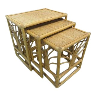 20th Century Boho Chic Rattan Bamboo Nesting Tables - Set of 3 For Sale