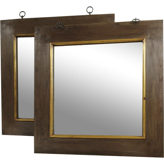 French Industrial Style Mirrors - A Pair For Sale