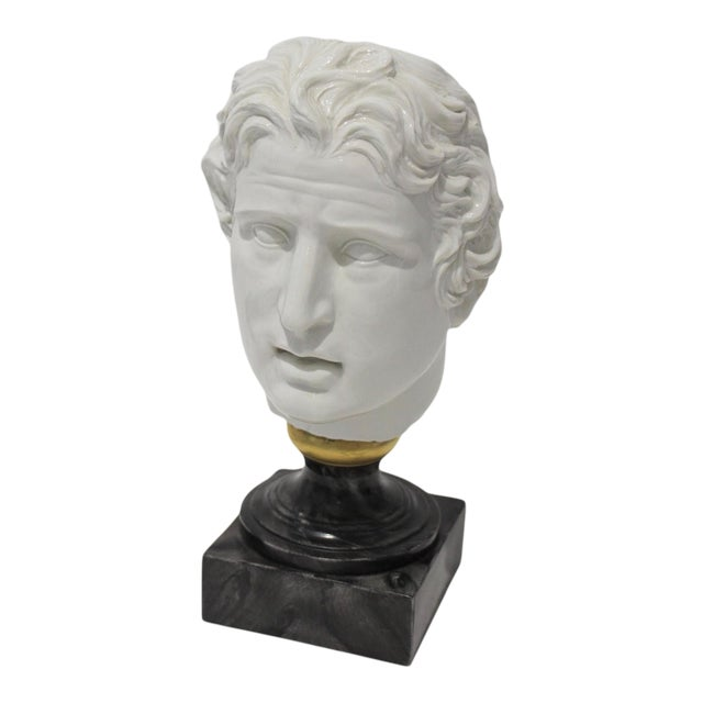 Mid-Century Modern Roman Head of Male in White Porcelain on Faux Malachite Stand For Sale