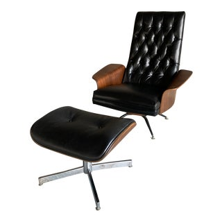 Murphy Miller Mid-Century Black Leather Lounge Chair & Ottoman For Sale