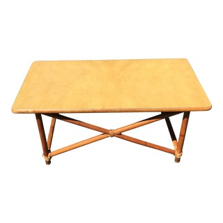 Heywood Wakefield Rattan Style Coffee Table For Sale