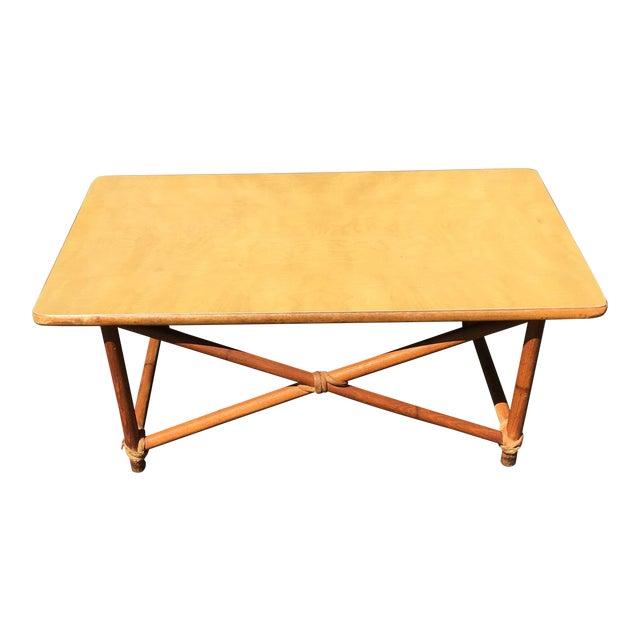 Chic Rattan Coffee Table: Heywood Wakefield Rattan Style Coffee Table