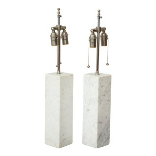 Pair of Sculptural Vintage Calacatta Marble Lamps For Sale