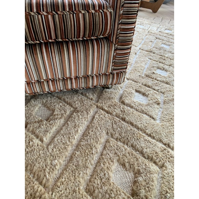 1970s Velvet Striped Couch- Original Upholstery For Sale - Image 4 of 7