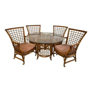 Rattan and Brass Dining Set For Sale