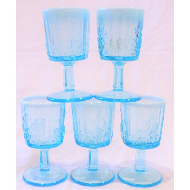Vintage Opaline Tiffany Blue Wine Glasses - Set of 5 For Sale - Image 9 of 9