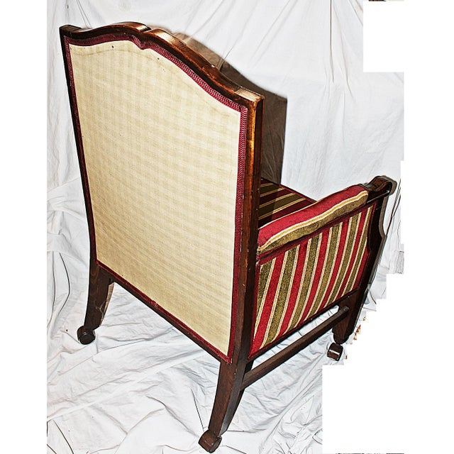 Rolling French Chair in Velour Stripe For Sale In West Palm - Image 6 of 6