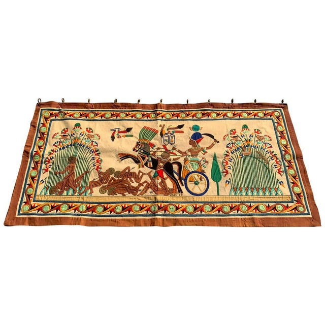 French Grand Tour Egyptian Tomb Tapestry, Circa 1925 For Sale - Image 9 of 9