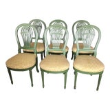 Image of Green Lacquerred Balloon Back Dining Chairs - Set of 6 For Sale
