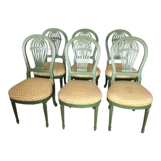 Green Lacquerred Balloon Back Dining Chairs - Set of 6 For Sale