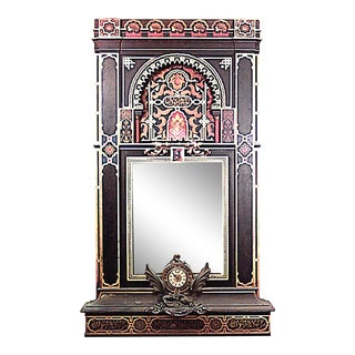 Moorish Style Carved Wall Mirror with Clock For Sale