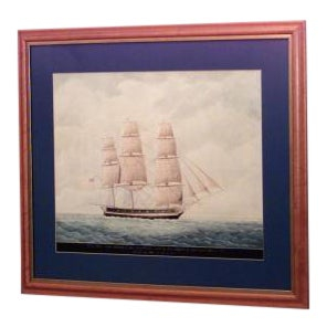 """American watercolor on paper depicting the clipper ship """"Wasp"""" at sail For Sale"""