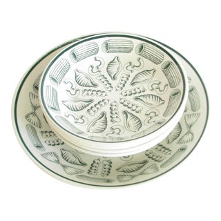 Vintage Primula Italy Ceramic Pasta Serving Bowl Set With Green Pasta Design - 5 Pieces For Sale
