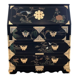 Chinoiserie Secretary Desk With Brass Butterfly Detail /Hardware