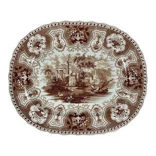 1800s Dixon Phillips & Co. Brown Australian Pattern English Transferware Platter For Sale
