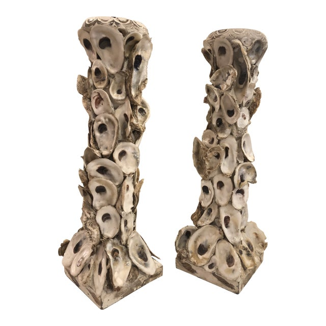 Pair of Oyster Candleholders For Sale