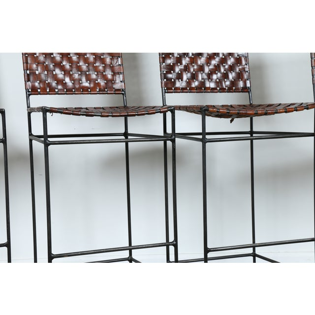 1990s Vintage Leather Bar Stools - Set of 4 - Image 3 of 11