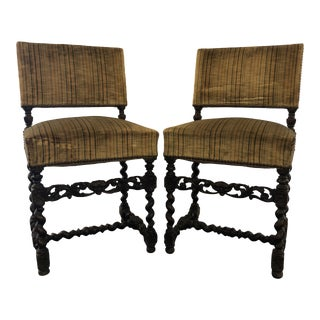 Late 19th Century Pair of Louis XIII Style Side Chairs in Walnut For Sale