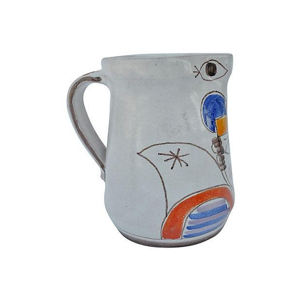 Italian Hand-Painted Italian Pitcher For Sale - Image 3 of 4
