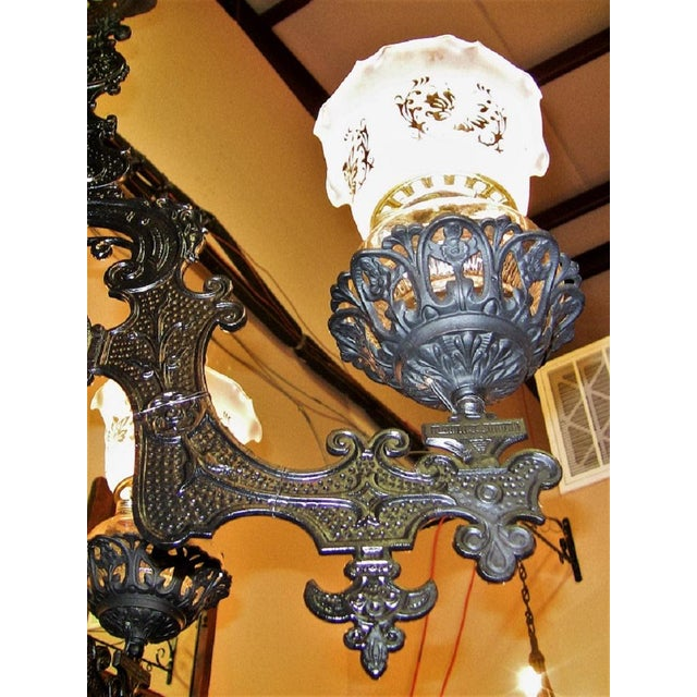 19c Bradley & Hubbard Cast Iron 6 Arm Chandelier For Sale In Dallas - Image 6 of 13