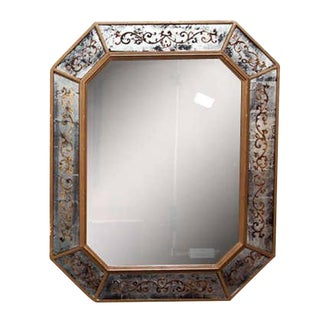 French Églomisé Mirror Circa 1940's by Maison Jansen Bronze Framed For Sale