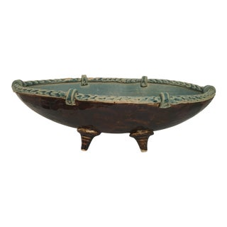 Arts and Crafts Footed Studio Pottery Oblong Bowl