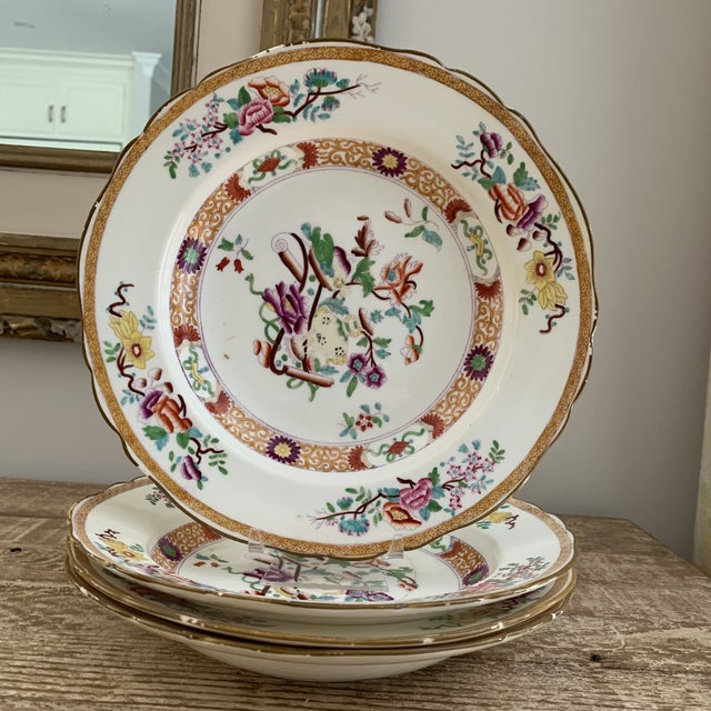 Chinoiserie Antique English Masons Minton Shallow Bowls - Set of 4 For Sale - Image 3 of 12