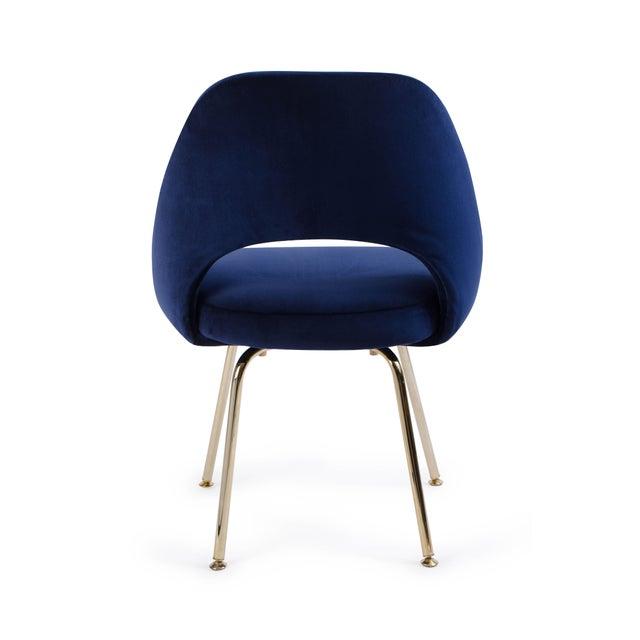 Mid-Century Modern Saarinen Executive Armless Chair in Navy Velvet, 24k Gold Edition For Sale - Image 3 of 5