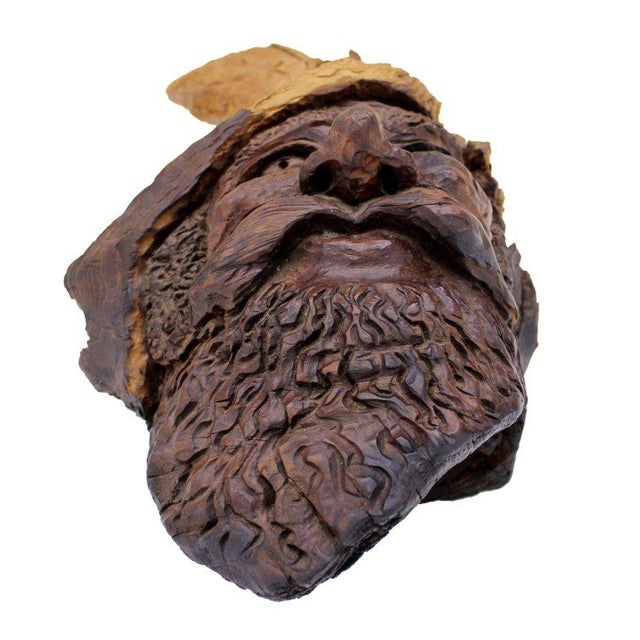 Detailed Burl Wood Carving of an Elf or Gnome Face Sculture - Image 3 of 9