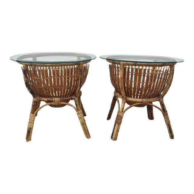 Vintage Rattan Fish Basket Tables -- A Pair For Sale