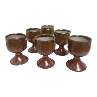 Mid-Century Artisan Pottery Rust and Gold Wine Goblets Signed Parker - Set of 6 For Sale