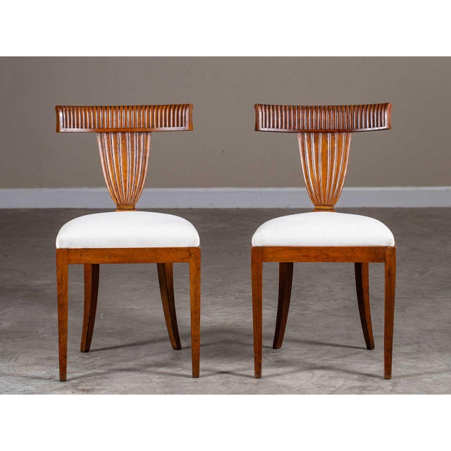 Antique 1890s Italian Empire Walnut Neoclassical Chairs - a Pair For Sale - Image 13 of 13
