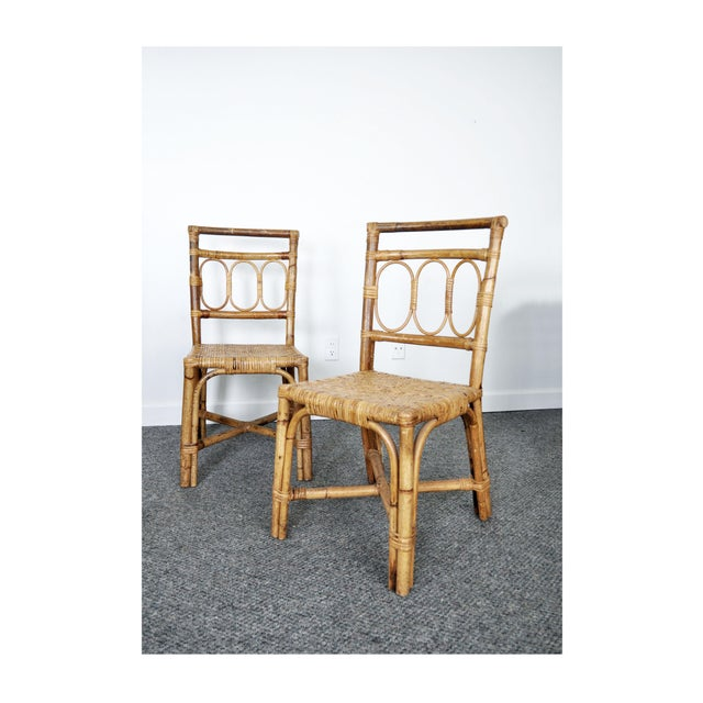 Antique 1920's Bamboo & Rattan Chairs - A Pair For Sale - Image 10 of 10