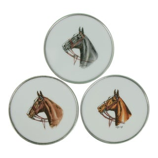 1950s Vintage Cyril Gorainoff Horse Head Milk Glass Coasters - Set of 3 For Sale