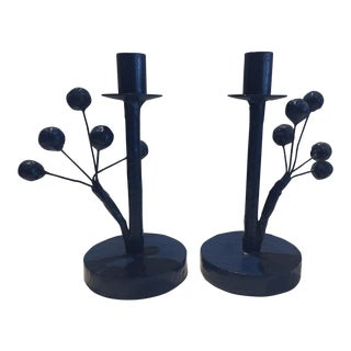 Blue Twiggy Candle Stick Holders - a Pair