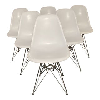 Modern Eames Style Eiffel Base Shell Chairs - Set of 6 For Sale