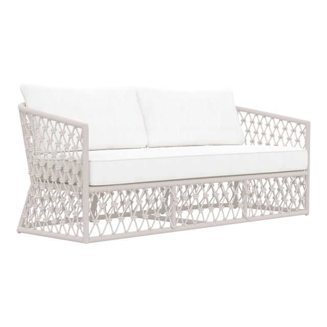 Amelia 3 Seat Sofa in Sand with White Cushions For Sale