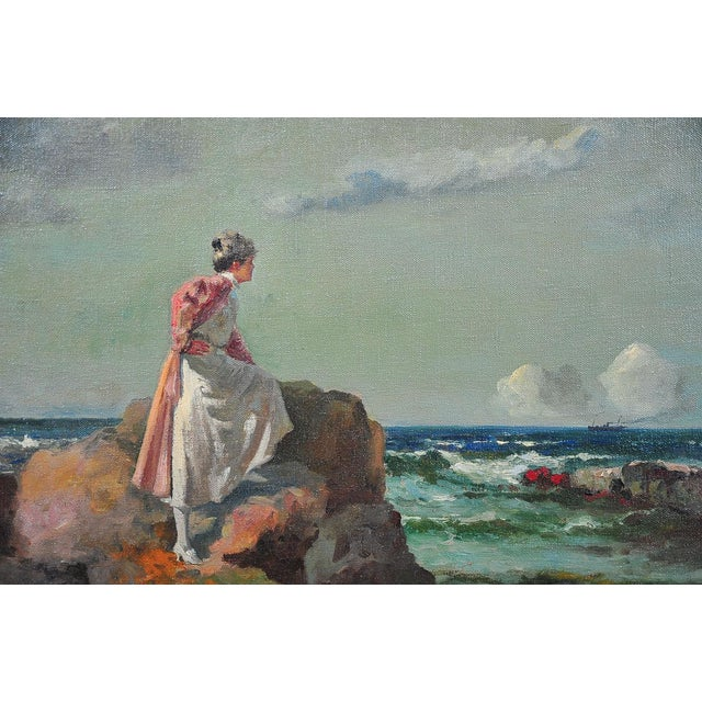 """""""Woman Looking at Sea,"""" Painting by A. Neogrady - Image 3 of 9"""