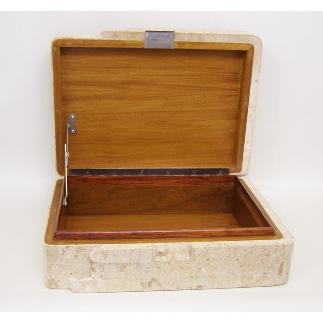 Tan Maitland-Smith Vintage Travertine Marble Box For Sale - Image 8 of 11