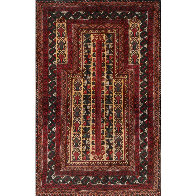 """Pasargad Balouch Collection Red Rug - 2'11"""" X 4'9"""" - Image 1 of 2"""