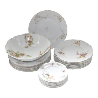 Mismatched Vintage Austrian Floral Plates and Bowl - 20 Pieces