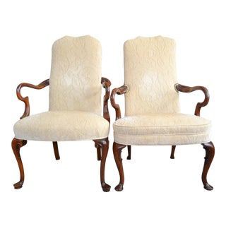 Hickory Chair Gooseneck Armchairs - A Pair