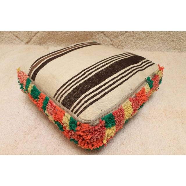 Green Moroccan Colorful Unstuffed Pouf Cover For Sale - Image 8 of 11