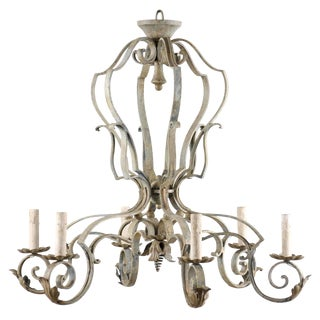 French Mid-20th Century Painted Six-Light Chandelier For Sale