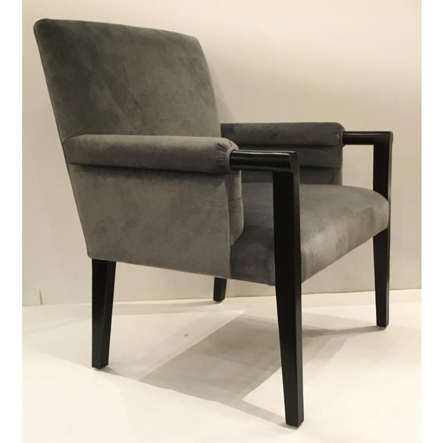 Wood Mid-Century Modern Style Gray Velvet Londres Arm Chair By: John Richard For Sale - Image 7 of 7