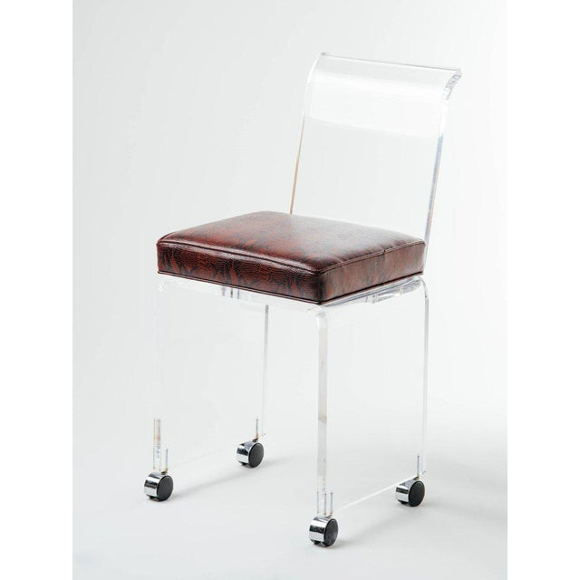 1970s Red Python Leather and Lucite Stool in the Style of Charles Hollis Jones For Sale - Image 9 of 11