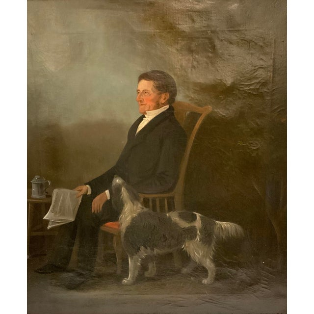 This beautifully executed 19th C. oil on canvas painting captures a dapper gentleman enjoying the paper outdoors. His...