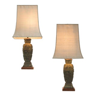 1940s Graphical Chinese Bronze Urn Lamps